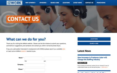 Screenshot of Contact Page atwork.com - Contact Us - captured Nov. 2, 2014