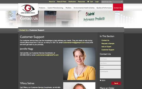 Screenshot of Support Page gabepro.com - Customer Support || Gabriel Performance Products - captured Oct. 1, 2014