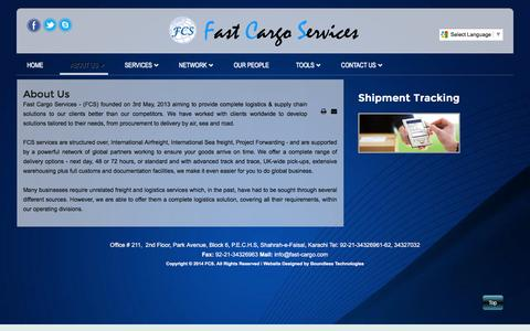 Screenshot of About Page fast-cargo.com - About Us - captured Feb. 9, 2016