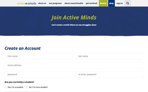 Screenshot of Signup Page activeminds.org - Join - Active Minds - captured Oct. 3, 2018