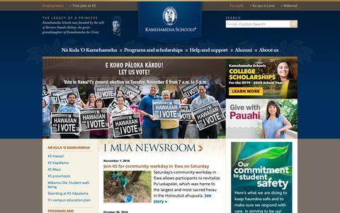 Screenshot of Home Page ksbe.edu - Kamehameha Schools - captured Nov. 3, 2018