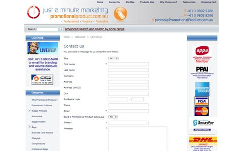Screenshot of Contact Page promotionalproduct.com.au - Promotional Product: Christmas Promotional Products, Promotional Gift, Promotional Campaigns - captured March 13, 2016