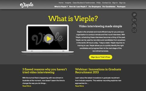 Screenshot of Home Page vieple.com - Vieple | Video Interview Platform - captured Oct. 6, 2014
