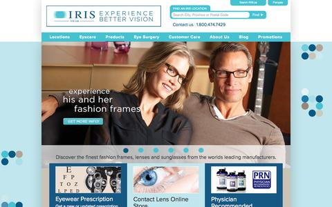 Screenshot of Products Page iris.ca - Eyewear | Fashion Frames from leading designers - IRIS Canada - captured Sept. 19, 2014