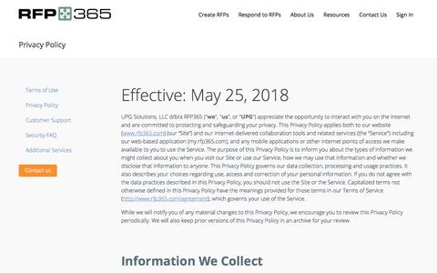 Screenshot of Privacy Page rfp365.com - RFP365 | Privacy Policy - captured July 18, 2018