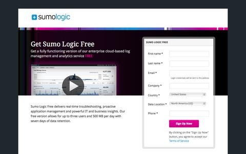 Screenshot of Signup Page sumologic.com - Sumo Logic Free | Enterprise-ready Cloud Log Management - captured Sept. 17, 2014