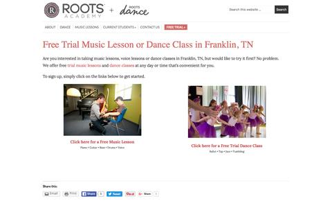Screenshot of Trial Page rootsacademy.net - Free Trial Music Lesson or Dance Class in Franklin, TN • ROOTS Academy - captured Dec. 1, 2016