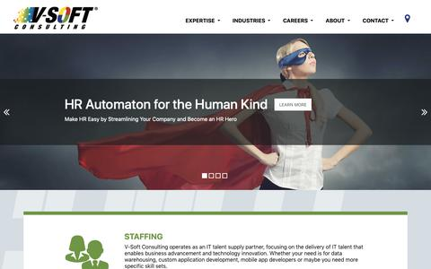 Screenshot of Home Page vsoftconsulting.com - V-Soft Consulting | IT Staffing & IT Services for the Enterprise - captured Nov. 15, 2018