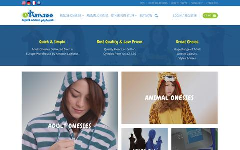 Screenshot of Home Page funzee.co.uk - Onesies For Adults from Funzee UK - Funzee - captured Oct. 11, 2018