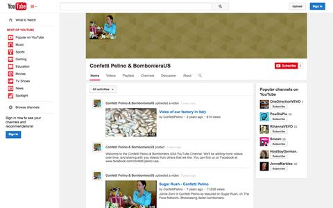 Screenshot of YouTube Page youtube.com - Confetti Pelino & BombonieraUS  - YouTube - captured Oct. 22, 2014