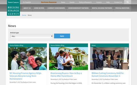 Screenshot of Press Page nchfa.com - News | North Carolina Housing Finance Agency - captured Nov. 13, 2017