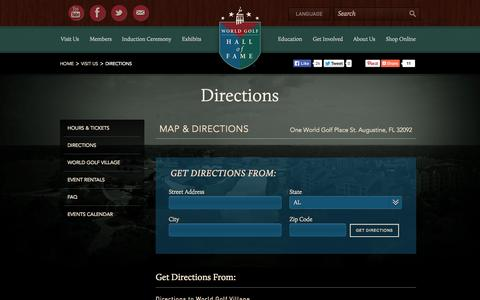Screenshot of Maps & Directions Page worldgolfhalloffame.org - Directions - captured Oct. 7, 2014