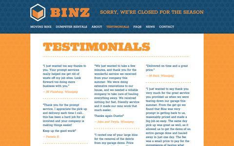 Screenshot of Testimonials Page binzcontainers.com - Testimonials - captured Oct. 10, 2017