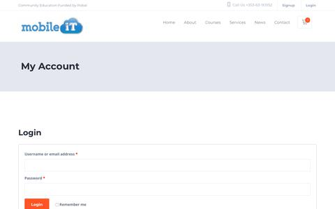 Screenshot of Signup Page Login Page mobileit.ie - My Account | Mobile IT - captured Sept. 20, 2018