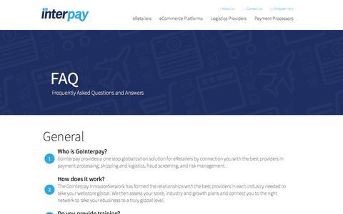 Screenshot of FAQ Page gointerpay.com - FAQ - captured Oct. 3, 2014