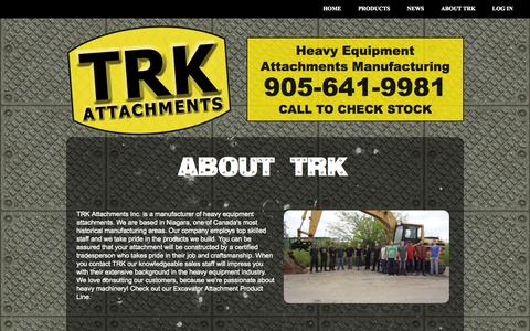 Screenshot of About Page trkattach.ca - About TRK Attachments Inc - captured Sept. 23, 2014