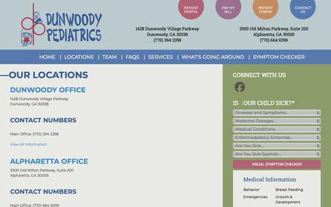Screenshot of Contact Page Locations Page dunwoodypediatrics.com - See Our Locations and Office Hours | Dunwoody Pediatrics | Dunwoody & Alpharetta GA | |  My Site - captured Nov. 6, 2018