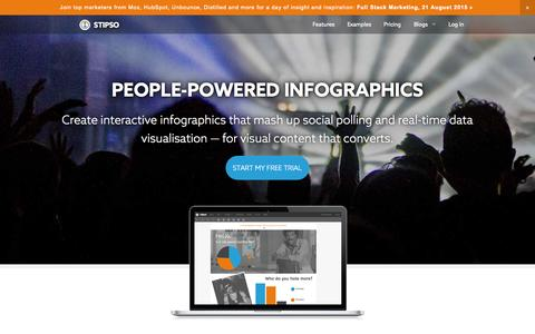 Screenshot of Home Page stipso.com - Stipso — people-powered infographics - captured Aug. 14, 2015