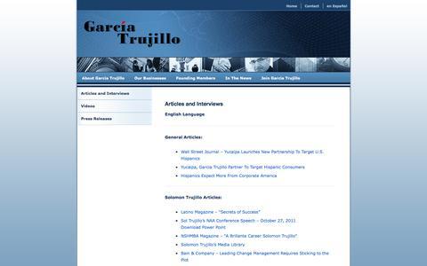 Screenshot of Press Page garciatrujillo.com - Articles and Interviews | Garcia Trujillo - captured July 11, 2016