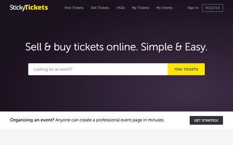 Screenshot of Home Page stickytickets.com.au - Sell Tickets Online – Buy Tickets Online - Sticky Tickets - captured Aug. 5, 2015