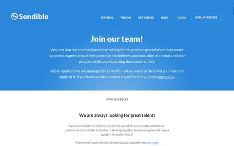 Screenshot of Jobs Page sendible.com - Join The Team | Sendible - captured June 29, 2018