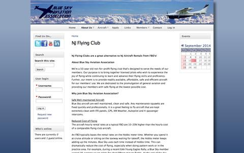 Screenshot of About Page blueskyaa.com - New Jersey Flying Clubs | Blue Sky Aviation Association | NJ Flying Club - captured Oct. 5, 2014