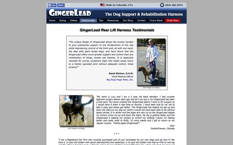 Screenshot of Testimonials Page gingerlead.com - Dog Rear Lift Harness Testimonials   GingerLead Reviews - captured Oct. 2, 2014