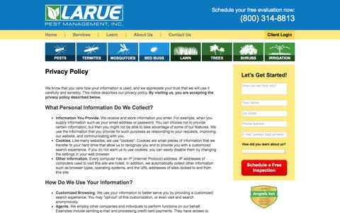 Screenshot of Privacy Page laruepest.com - Privacy Policy - Larue Pest Management, Inc. (800) 314-8813 - captured Oct. 25, 2016