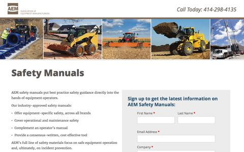 Screenshot of Landing Page aem.org - Safety Manuals - captured May 21, 2016