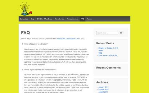 Screenshot of FAQ Page wnysorc.org - FAQ – W.N.Y.S.O.R.C - captured Jan. 23, 2017
