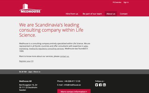 Screenshot of About Page medhouse.com - About us - Medhouse - captured Nov. 6, 2018