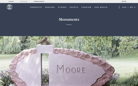 Screenshot of Products Page rockofages.com - Monuments | Rock of Ages - captured Oct. 19, 2018