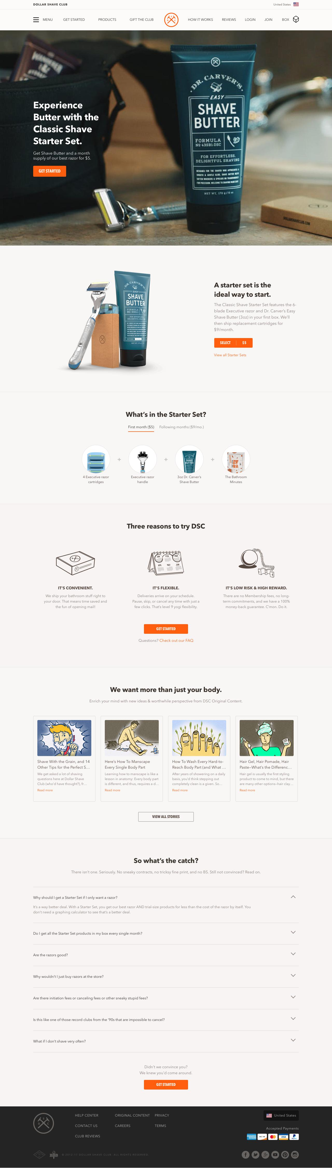 Screenshot of dollarshaveclub.com - Dollar Shave Club | Shave and Grooming Made Simple - captured Nov. 26, 2017