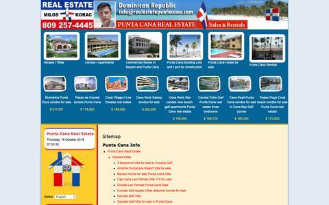 Screenshot of Site Map Page realestatepuntacana.com - Punta Cana Real Estate > Sitemap - captured Oct. 18, 2018