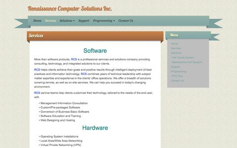 Screenshot of Services Page rcssite.ca - Renaissance Computer Solutions Inc.   Services - captured Oct. 6, 2014