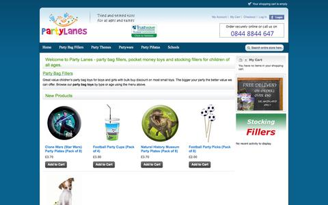 Screenshot of Home Page partylanes.co.uk - Children's Party Bag Fillers, Loot Bag Toys and Stocking Fillers - captured Sept. 30, 2014