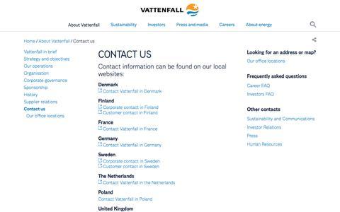 Screenshot of Contact Page vattenfall.com - Contact us - Vattenfall - captured Dec. 14, 2016