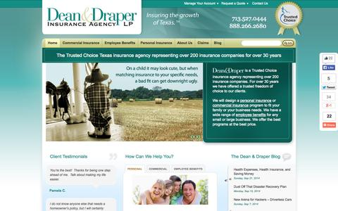 Screenshot of Home Page deandraper.com - Commercial & Personal Insurance Agency | Houston, Texas - captured Sept. 23, 2014