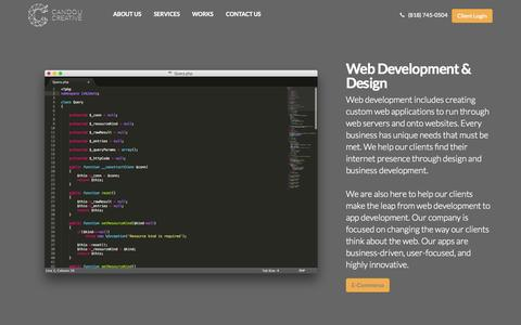 Screenshot of Services Page candouinc.com - Web Design & Development Glendale CA | Candou Creative - captured Nov. 1, 2014
