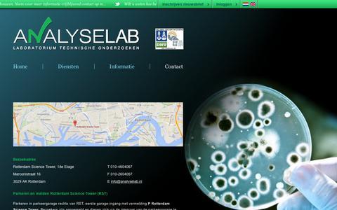 Screenshot of Contact Page analyselab.nl - Analyselab - Contact - captured Feb. 6, 2016