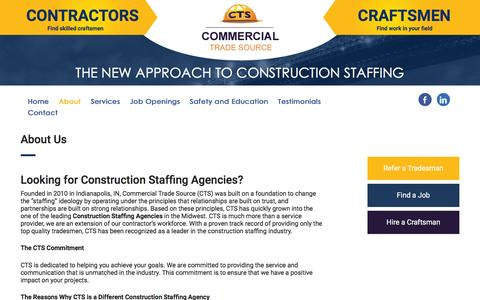 Screenshot of About Page commercialtradesource.com - About us | Construction Staffing Agencies | CTS - captured July 15, 2016