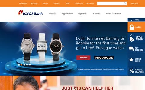 Screenshot of Home Page icicibank.com - Personal Banking, Online Banking Services - ICICI Bank - captured Oct. 5, 2015