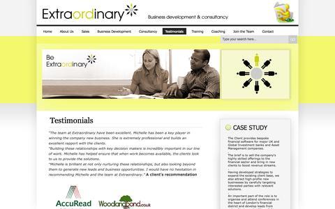 Screenshot of Testimonials Page extraordinaryconsultancy.com - » Testimonials - captured Sept. 30, 2014