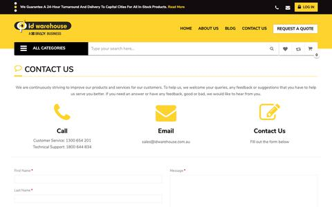 Screenshot of Contact Page idwarehouse.com.au - Contact Us - captured Nov. 4, 2018