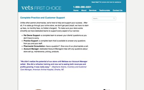 Screenshot of Support Page vetsfirstchoice.com - Complete Practice and Customer Support | Vets First Choice  |  Your Pharmacy. Your Clients. Your Success. - captured Sept. 15, 2014