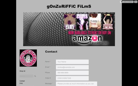 Screenshot of Contact Page storenvy.com - Contact · gOnZoRiFFiC FiLmS · Online Store Powered by Storenvy - captured May 20, 2016