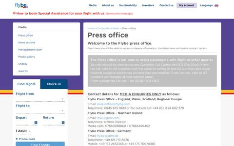 Screenshot of Press Page flybe.com - Press Office - Media - Corporate   Flybe UK - captured Aug. 4, 2016