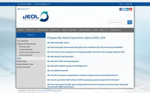 Screenshot of FAQ Page jeolusa.com - Frequently Asked Questions about JEOL USA - captured Nov. 2, 2017