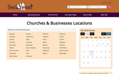 Screenshot of Locations Page seekye.net - Find Churches & Businesses by Location - SeekYe Network - captured Feb. 16, 2016