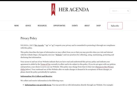 Screenshot of Privacy Page heragenda.com - Her Agenda - captured Nov. 10, 2018